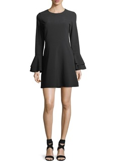 Parker Orlando Jewel-Neck Trumpet-Sleeve Mini Dress