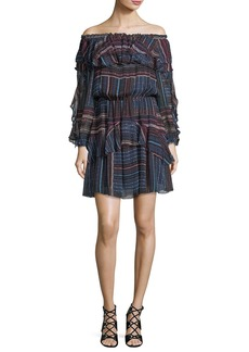 Parker Palermo Off-the-Shoulder Printed Chiffon Mini Dress