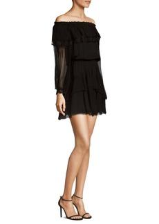 Parker Palmero Ruffled Off-The-Shoulder Silk Dress