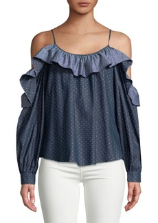 Parker Polka-Dot Cotton Cold-Shoulder Top