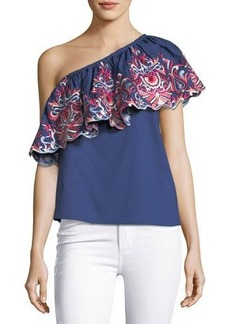 Parker Reba Floral-Embroidered One-Shoulder Poplin Top