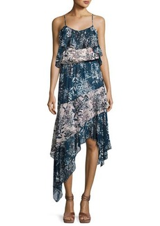Parker Reuben Mixed-Print Handkerchief-Hem Slip Dress
