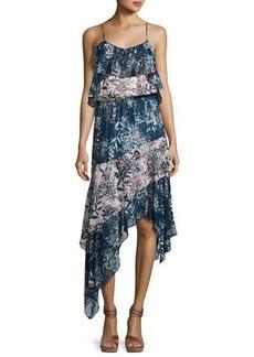 Parker Reuben Mixed-Print Handkerchief-Hem Slip Dress