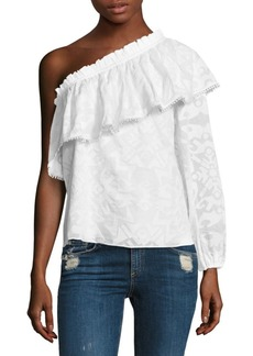 Parker Rihanna One-Shoulder Cotton Blouse