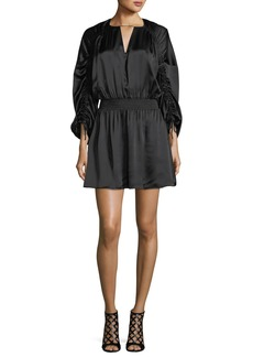 Parker Rissa Drawstring-Sleeve Silk Satin Short Dress