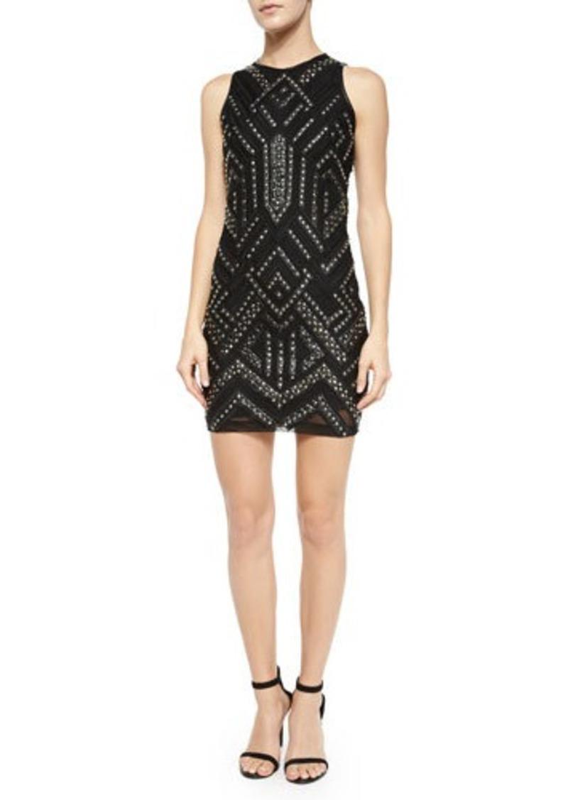 Parker Rodan Studded Leather-Trim Dress
