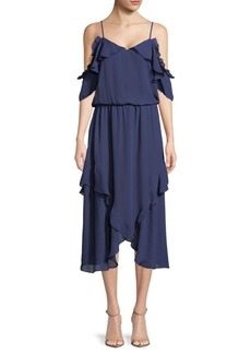 Parker Ruffled Cold-Shoulder Dress