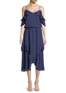 Parker Ruffled Cold-Shoulder Dress