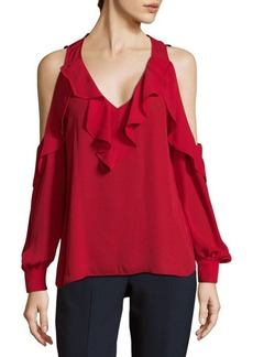 Parker Ruffles Cold Shoulder Blouse