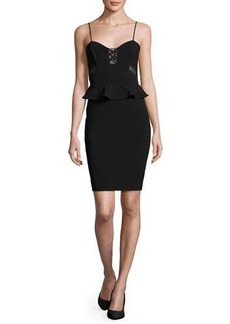Parker Sachi Lace-Trim Peplum Dress