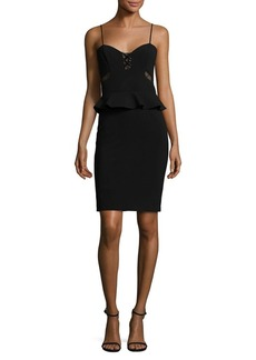 Parker Sachi Lace Up Combo Peplum Dress