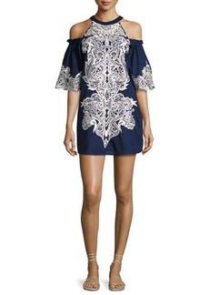 Parker Samantha Cold-Shoulder Embroidered Shift Dress