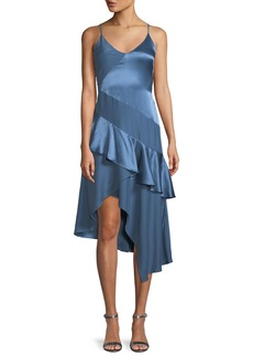 Parker Selma Sleeveless Silk Combo Ruffle Dress