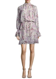 Parker Shelli Floral-Print Silk-Metallic Short Dress