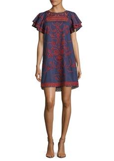 Parker Simone Embroidered Cotton Dress
