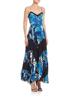 Parker Skye Combo Printed Silk Floral Gown