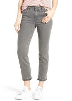 PARKER SMITH Frayed Release Hem Crop Straight Leg Jeans (Chrome)