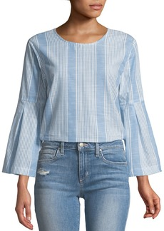 Parker Striped Bell-Sleeve Cotton Top