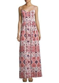 Parker Smocked-Back Graphic-Print Maxi Dress