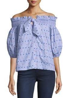 Parker Spade Off-the-Shoulder Embroidered Cotton Top