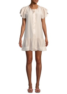 Parker Stacey Drawstring Ruffled Sleeve Silk Short Dress