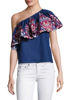 Parker Embroidered One-Shoulder Ruffle Top