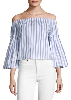 Parker Stripe Bell-Sleeve Cotton Top