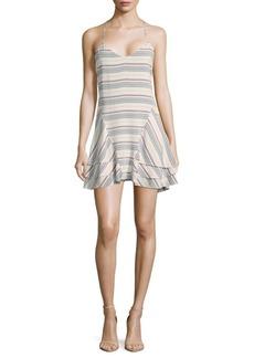 Saks Fifth Avenue RED Stripe Ruffled Dress