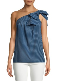 Parker Striped Cotton One-Shoulder Top