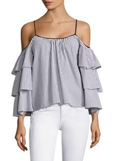 Parker Striped Marielle Cold-Shoulder Cotton Blouse