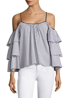 Parker Striped Marielle Cold-Shoulder Cotton Blouse