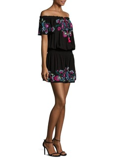Parker Tammy Embroidered Off-The-Shoulder Mini Dress