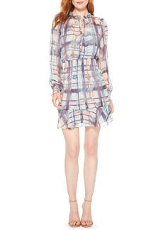 Parker Tie Dye Plaid Long Sleeve Silk Dress