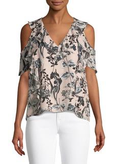 Parker Tudor V-Neck Cold-Shoulder Floral-Print Silk Top