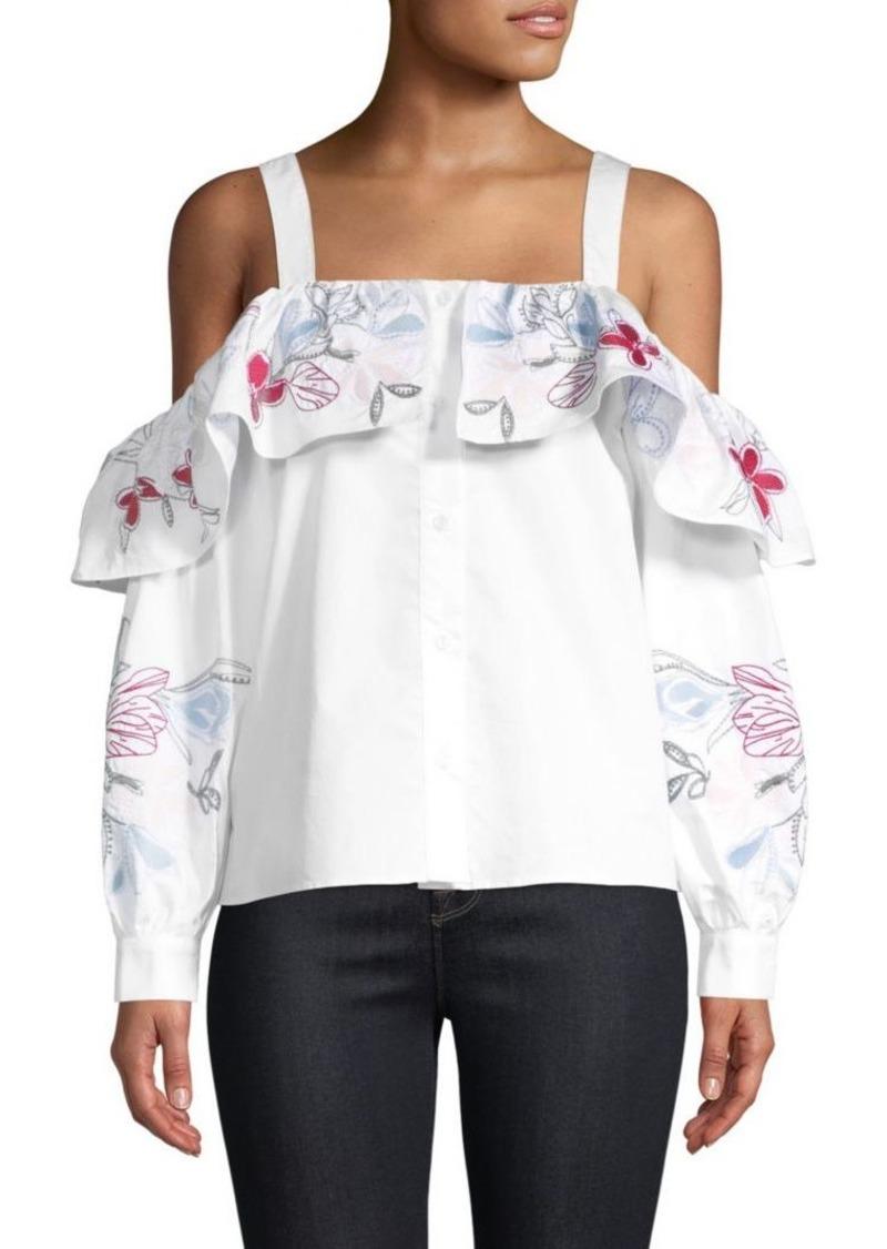 bed227afefa23 Parker Upton Cold-Shoulder Embroidered Top