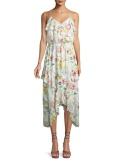 Parker Vanna V-Neck Floral-Print Silk Chiffon Dress