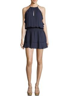 Parker Williame Sleeveless Halter Blouson Silk Dress
