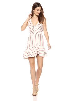 Parker Women's Aldo Sleeveless Striped Linen Ruffle Dress