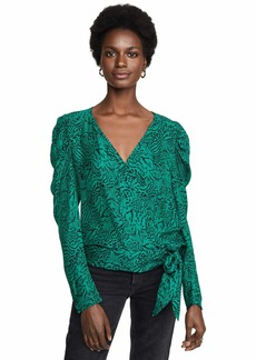 Parker Women's Arya Puff Sleeve Wrap Blouse  L