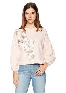 Parker Women's Berniece 3/4 Sleeve Embellished Sweatshirt  XS