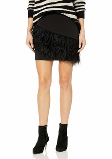 Parker Women's Classic Fitted Stretch Crepe Skirt with Asymmetric Feather Trim at The Hem  Size