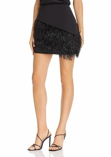 Parker Women's Classic Fitted Stretch Crepe Skirt with Asymmetric Feather Trim at The Hem