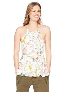 Parker Women's Dawson Sleeveless Low Back Tiered Silk Blouse  L