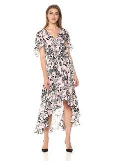 Parker Women's Demi Flutter Sleeve High Low Silk Dress  S