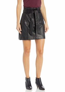 Parker Women's Emmett Belted Paper Bag Leather Skirt  XL