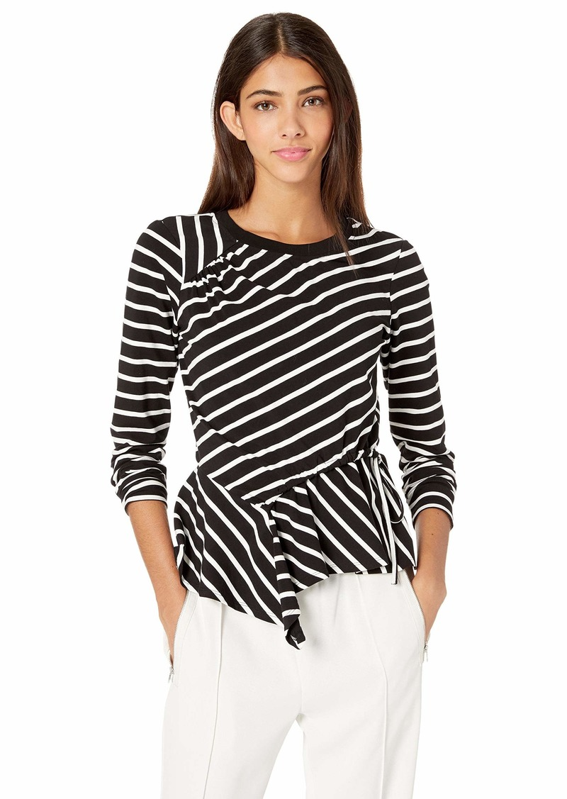 Parker Women's Farris Long Sleeve Ruched Front Top b/W Stripe XS