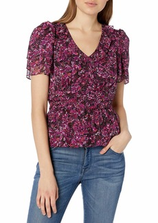 Parker Women's Flutter Sleeve Top with V-Neck and Peplum in Chiffon  L