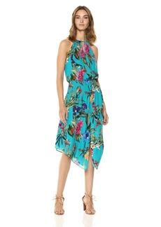 Parker Women's Herley Sleeveless Smocked Waist midi Dress azulejo Sardinia XS