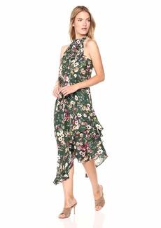 Parker Women's Julieta high Neck Asymmetrical midi Dress  M