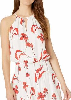 Parker Women's Larissa Sleeveless Drape Front Smocked Mini Dress  M